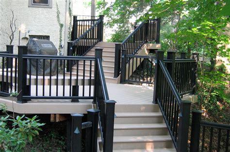 black porch railing timbertech radiancerail in classic black decks