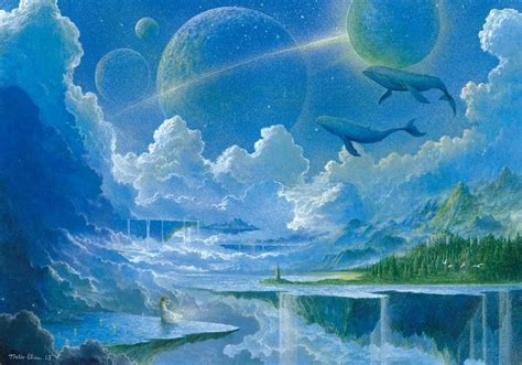 whale floating island waterfall clouds planet