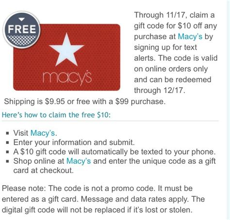 macys order by phone free 10 macys gift card for shoppers valid