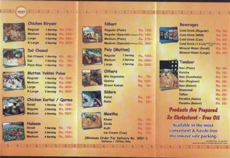 cuisine menu list indus foods restaurant karachi menu deals