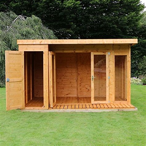side storage shed 12x8 t g wooden contemporary summerhouse with side storage