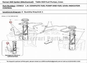 Ferrari Part Number 239812 L H  Complete Fuel Pump And