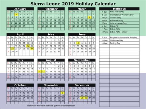 sierra leone holiday calendar