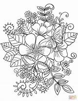 Coloring Pages Flowers Wild Flower Printable Leave sketch template
