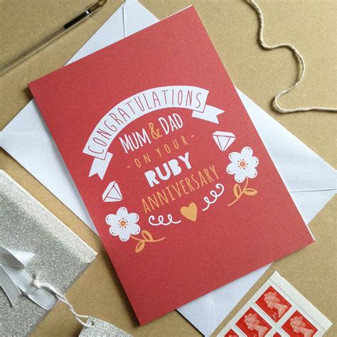 personalised ruby wedding anniversary card by ello design