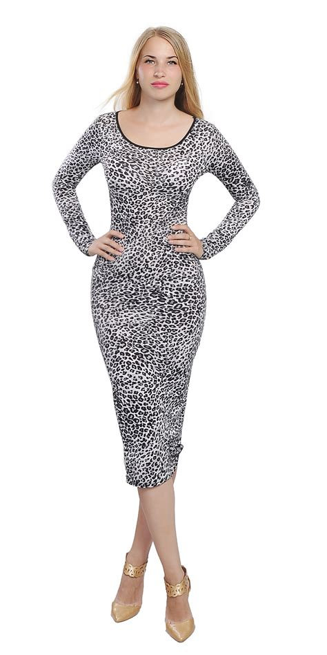 Womens Bodycon Midi Dress Long Sleeve Leopard Casual