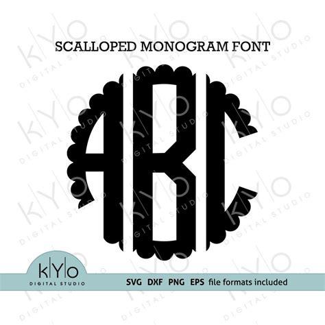 scalloped monogram font svg cut files