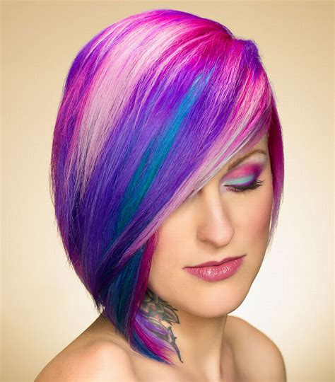 hair color styles for hair soft rainbow bright blue color hairstyle
