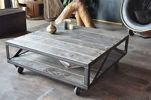 table basse industrielle bois grise et acier brosse With table basse en bois gris