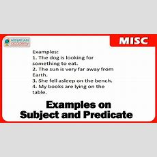 Examples On Subject And Predicate  English Youtube