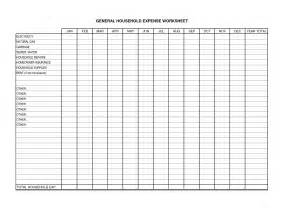 Printable Monthly Household Expense Worksheet