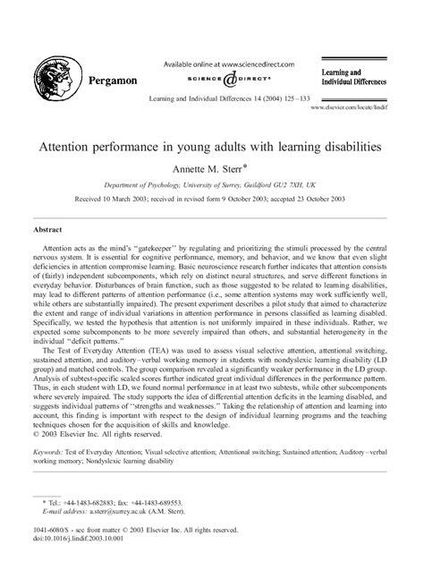 دانلود مقاله :عملکرد توجه در افراد جوان با ناتوانی های یادگیری