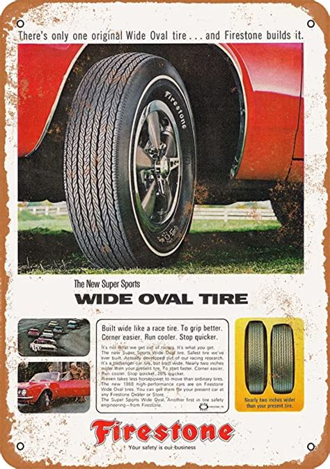 Designed for cars, minivans and cuvs, the weathergrip is engineered to deliver confident wet performance year round and comes backed by a 65,000 mile limited mileage warranty*. Amazon.com: Wall-Color 7 x 10 Metal Sign - 1967 Firestone Wide Oval Tires - Vintage Look: Home ...