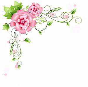 Pink Rose clipart floral corner borders - Pencil and in ...