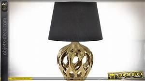 Lampe Salon Design : lampe de salon design noir et or avec pied en structure ~ Melissatoandfro.com Idées de Décoration