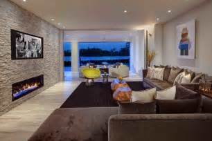 Kitchen Island Table Ideas Accent Wall Living Room Contemporary With Fireplace Wall Wall Mounted Tv Brown Sofa