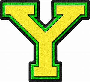 Presentation Alphabets: Yellow & Kelly Green Varsity Letter Y