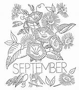 September Coloring Pages Embroidery Flower Printable Month Hand Adults Patterns Transfer Designs Flowers Transfers Books Qisforquilter sketch template