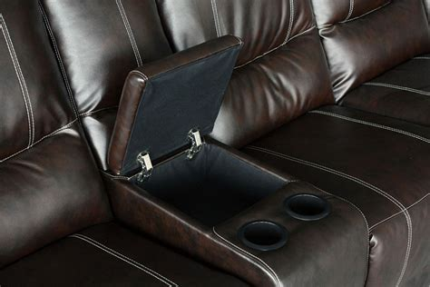 leather sectional recliner sofa with cup holders keystone brown leather plush 3 recliners cup holders
