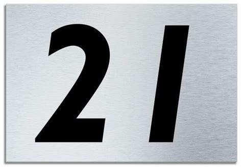 Number 21 Contemporary House Plaque Brusher Aluminium