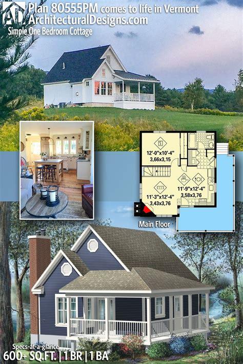 Plan 80555PM: Simple One Bedroom Cottage Cottage plan