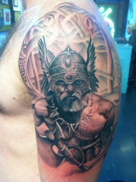 stylish viking shoulder tattoos