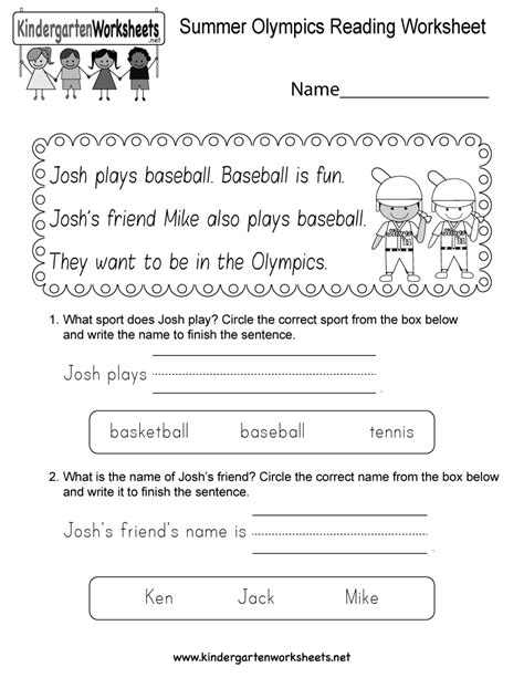 Summer Olympics Reading Worksheet  Free Kindergarten Seasonal Worksheet For Kids