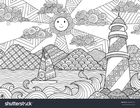 seascape  art design coloring book stock vector