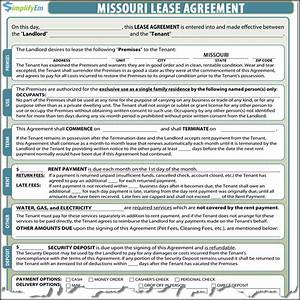 Missouri rental agreement for Missouri lease agreement