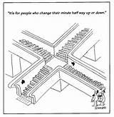 Elevator Escalator Cartoon Funny Magazine Issue Yorker Stuff sketch template