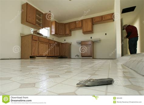 kitchen floor installation kitchen floor installation royalty free stock images image 325429