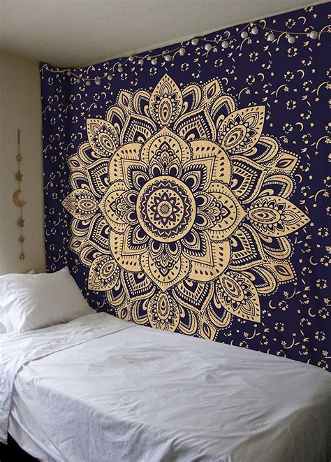 black and white bedding ideas blue gold ombre boho mandala tapestry wall
