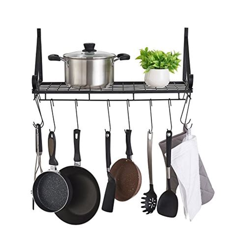 Kitchen Hooks For Pot Holders by Faithland Kitchen Wall Pot Pan Rack With 10 Hooks Pot