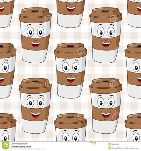 paper coffee cup seamless pattern stock vector image