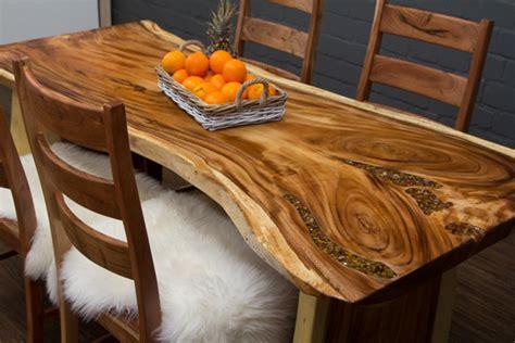 baumstamm esstisch aus suar massivholz mit halbedelsteinen nr 16019
