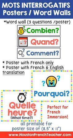 mots interrogatifs images teaching french learn