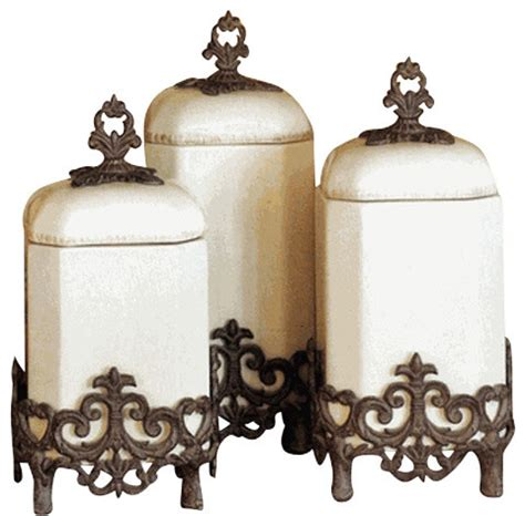 Decorative Kitchen Canisters by Provencial Kitchen Canisters Set Of 3 Mediterranean