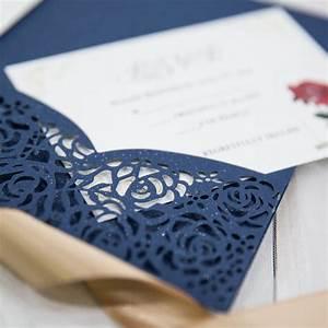 beauty and the beast navy blue laser cut pocket wedding With laser cut wedding invitation sleeve pocket