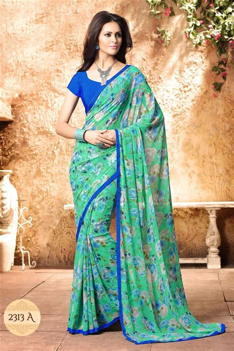 Buy Fancy Print Regular Wear Green Color Georgette Saree With Simple Border Work Online from ...