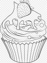 Coloring Drawing Cupcakes Cupcake Food Outline Delicious Baking Goods Baked Bakery Cup sketch template