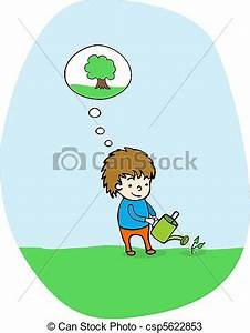 Vectors of Plant a tree - Cute kid watering a tree he just ...