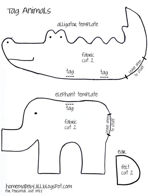Templates For Sewing Animals by Free Stuffed Animals Pattern Elephant And Alligator
