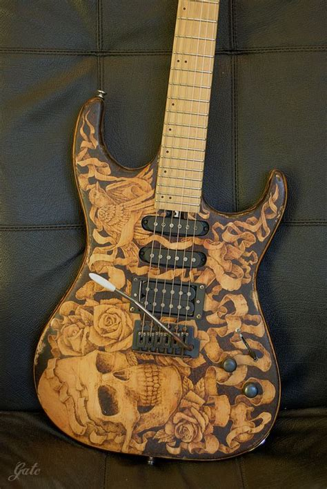 pyrography relic guitar  behance pyrography guitar