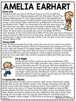 pilot amelia earhart biography reading comprehension