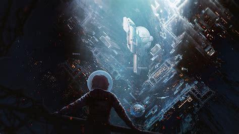 wallpaper science fiction future city rainy buildings