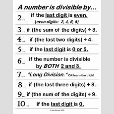 Free Divisibility Rules Poster Or Handout  Tpt Free Lessons  Divisibility Rules, Teaching