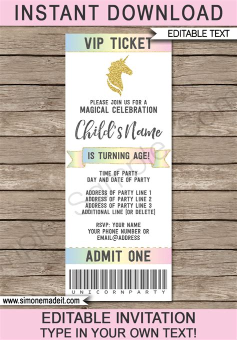 unicorn party ticket invitations template unicorn theme
