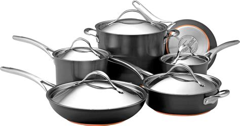 anolon  nouvelle dark gray stainless steel cookware set  oven safety induction