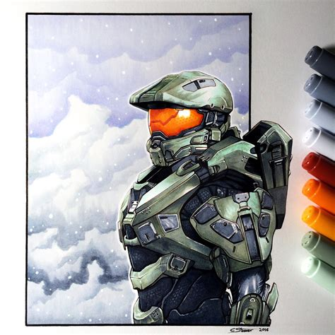 Master Chief Copic Marker Drawing By Lethalchris On