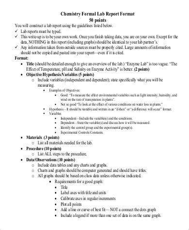 sample chemistry lab report  examples  word